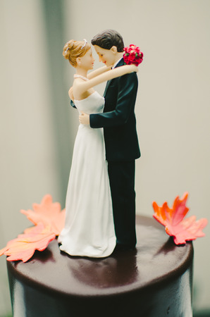 topper: Autumn Wedding Cake Topper Stock Photo
