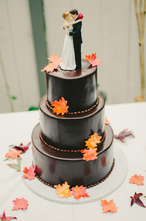 Brown Autumn Leaf Wedding Cake Stock Photo