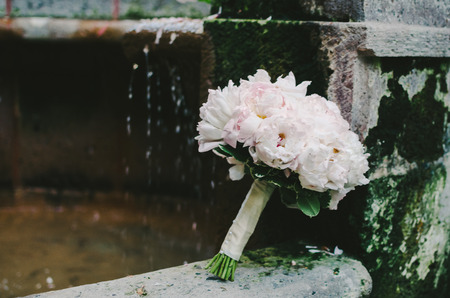 Pink  White Bridal Bouquet Stock Photo