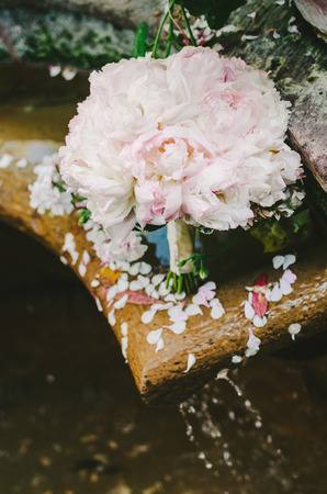 Pink Peony Bridal Bouquet Stock Photo
