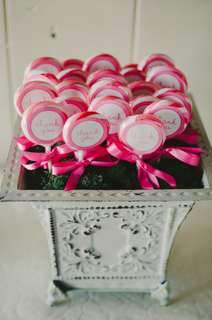 Pink Thank You Lollipop Favors