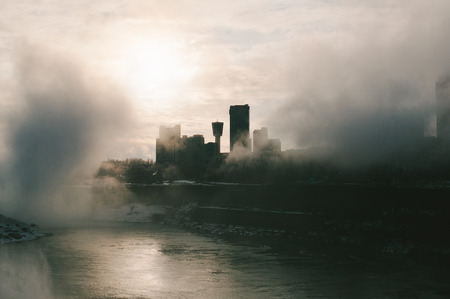 View of Niagara Canada on a Foggy Day