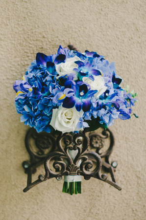 Blue  White Bridal Bouquet