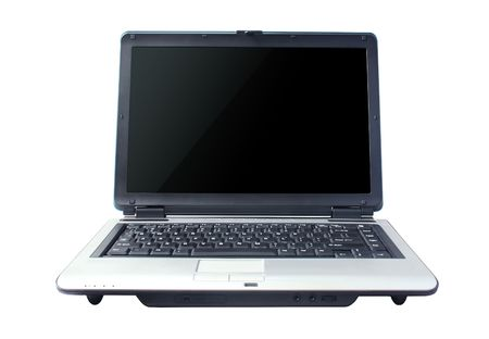 Portable blue laptop computer with black screen    photo