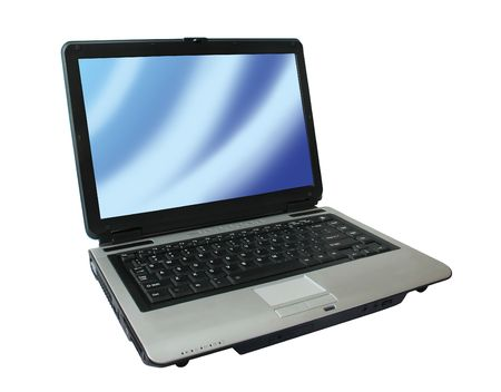 Portable blue laptop computer with picture screen