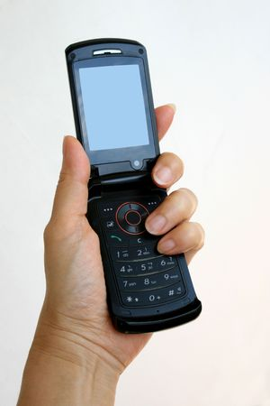 Black mobile phone in hand