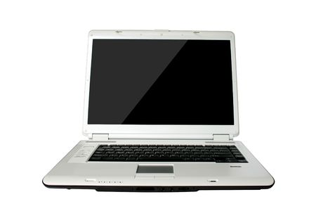 front view black screen laptop on white background