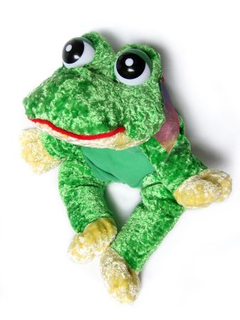 Close up of an green frog soft toy isolated on white