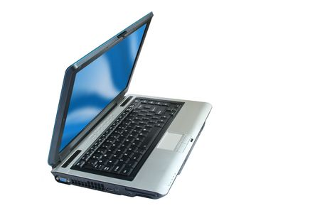 laptop computer side view on white background photo