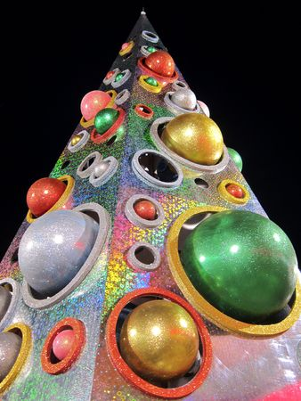 Triangle shape Christmas tree with color balls decorations