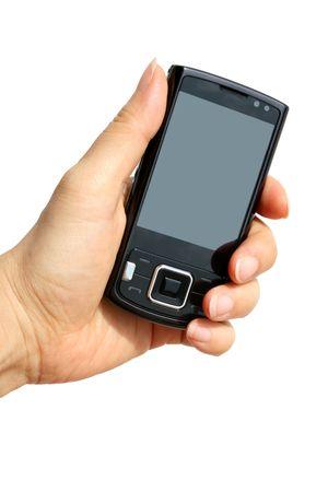 mobiele telefoons: mobiele telefoon in de hand geïsoleerd op witte achtergrond  Stockfoto