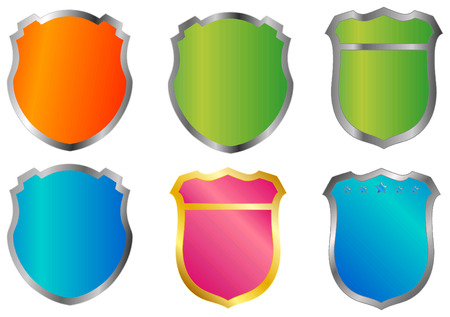 Difference color badges isolated on white background