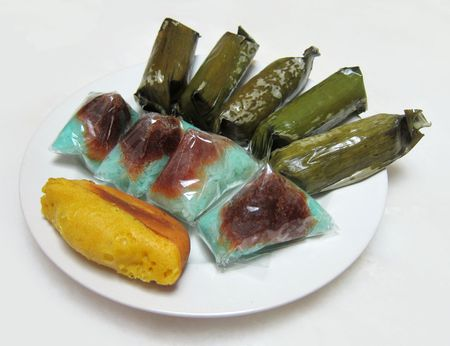 Exotic Small Cakes Known as Nyonya Kueh Stock Photo