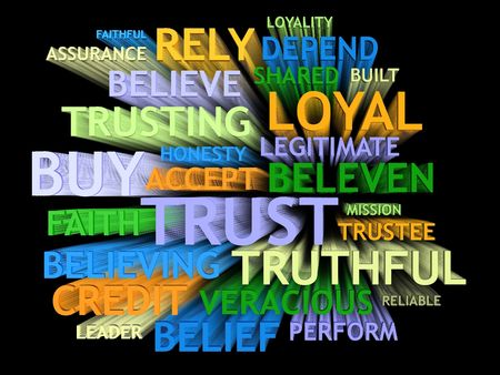 believe: 3d motion trail perspective TRUST word-cloud collage on black background.