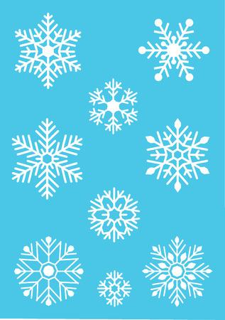 White snowflake on blue background