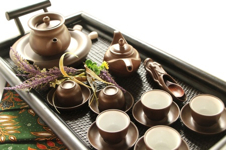 Teapot with Cups Stock Photo