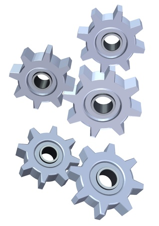 3d gears isolated on white background  Stock Photo