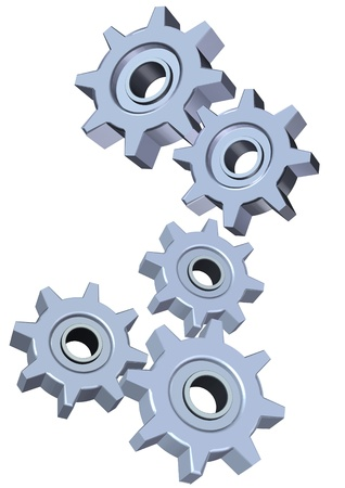 Two set of 3d gears illustration isolated on white background Stock Photo