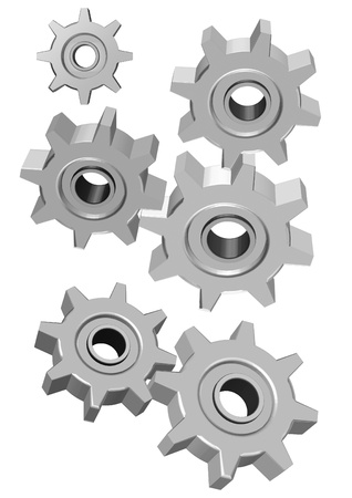 Three set of 3d gears illustration isolated on white background
