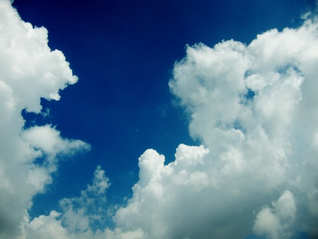 Blue sky with a lots of white puffy clouds Stock Photo - 9197231