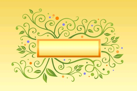 Green leaf illustration with banner and curves