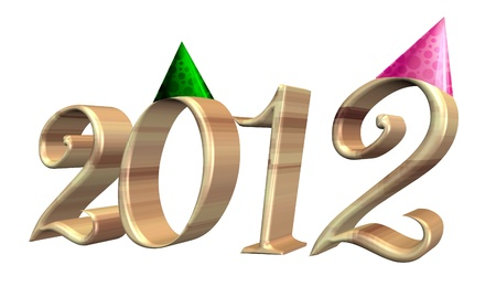 New Year 2012 colors text with hat photo