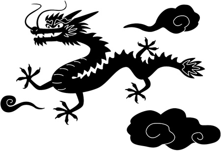 year of the dragon: Chinese New Year dragon Black White Clip Art, isolated on white