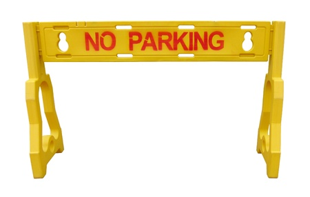 No parking�s yellow road barriers isolated on white Stock Photo