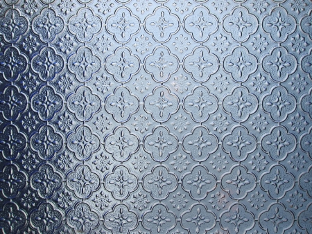 Asian Style Blue Pattern Glass for window and door  Stock Photo