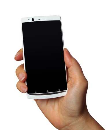 White mobile phone in hand isolated on white background photo