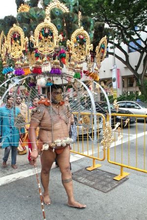 Thaipusam Procession in Singapore, Photo taken on January 27, 2013 in Singapore  Editorial
