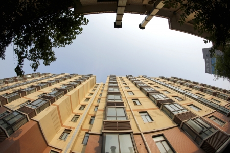 directly below: A private residential building in China during day time  Stock Photo