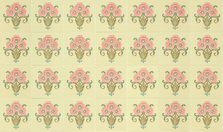 chinese wall: Seamless ornamental Peranakan style tile background Stock Photo