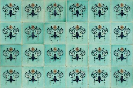 Seamless ornamental Peranakan style blue tiles background
