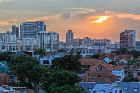 Singapore Housing Estate in suburb area at Sunset Stock Photo