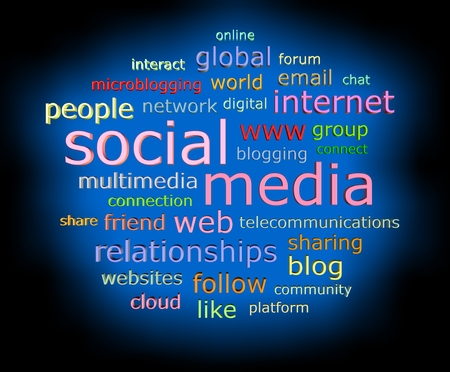 wiki: Social media concept in 3d word with glow effect tag cloud isolated on black background