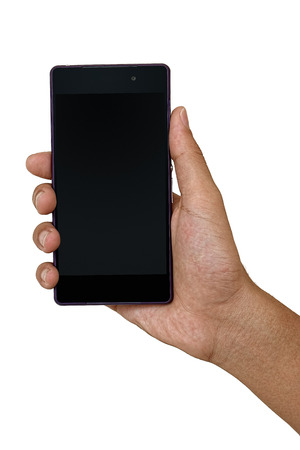 Black mobile phone in hand isolated on white background Stock Photo