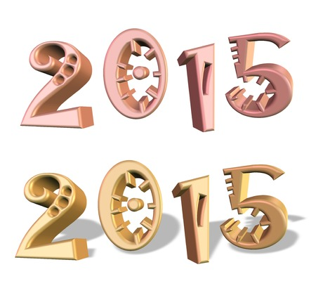 New Year 2015, color in pink and gold