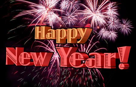 Happy New Year 2015 celebration with fireworks.