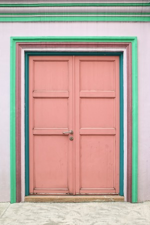 Wooden door in colorful color Stock Photo