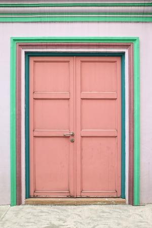 Wooden door in colorful color Stock Photo