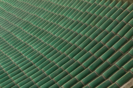 Chinese style ceramic green old roof top tiles, pattern Stock Photo