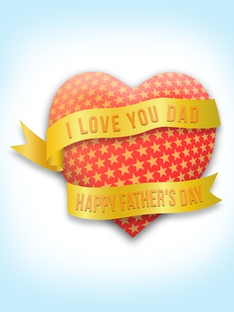 Happy Fathers Day with gold ribbon and heart shape greeting