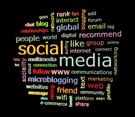 Social mediaSocial media concept word cloud in 3d format facing a bit to the left
