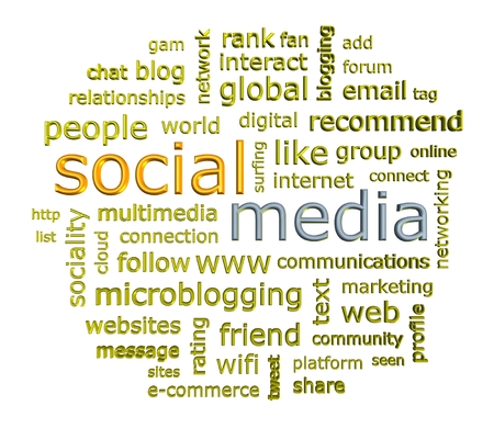 Social media concept word cloud in 3d format on white background