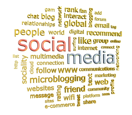 weblog: Social media concept word cloud in 3d format facing to the right isolated on white Stock Photo