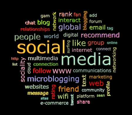 wiki: Social media concept word cloud in 3d format on black background