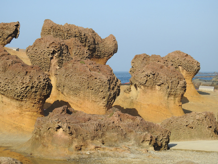 Yehliu Geopark in Taiwan famed for its eroded rock formations with sea-erosion landscape.