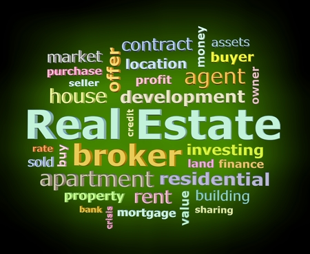 Real estate color word cloud on black background with green glowing light facing left Stock Photo