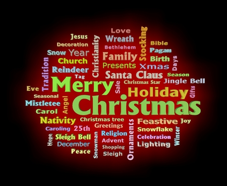 Merry Christmas red color glow 3D texts greetings word cloud Stock fotó